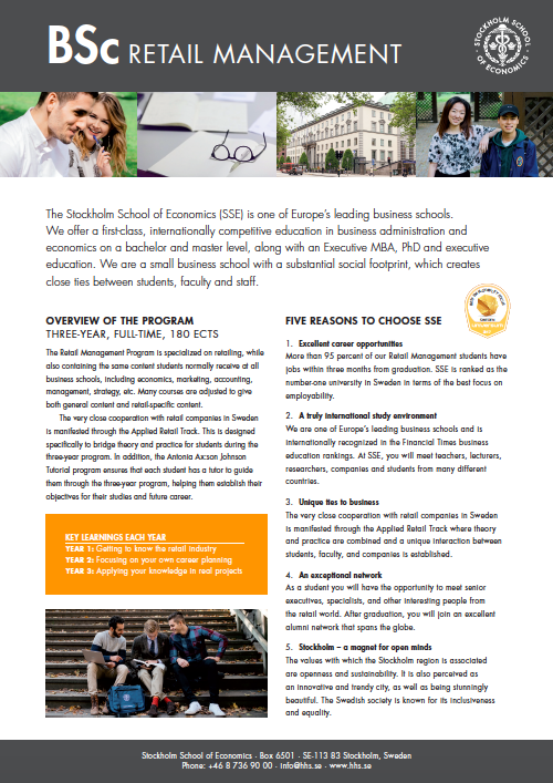 BSc in Retail Management Fact Sheet