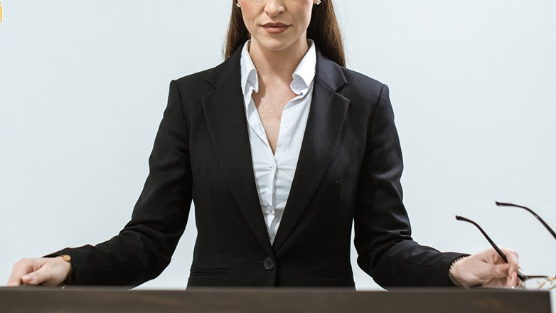 Woman standing and make a speech