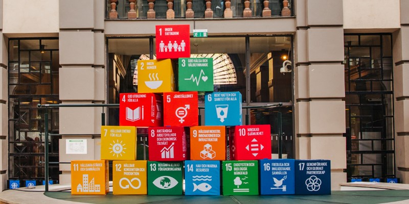 SDG blocks in front of building