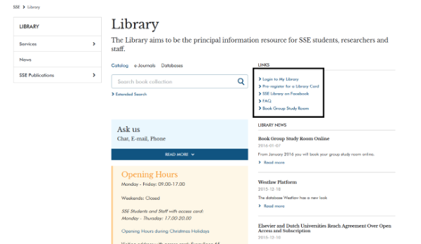 Picture to show where to find link to book group study room online