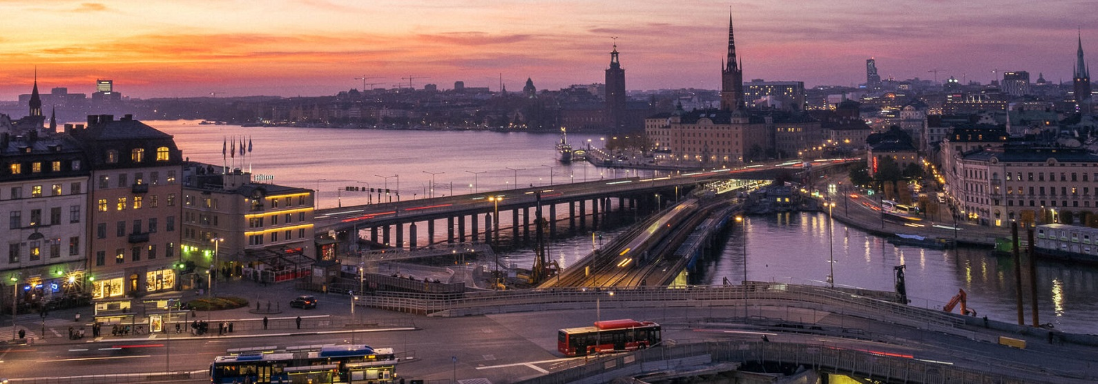 Sunset over Stockholm City